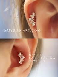 krone crown ear piercing jewelry 16g stud ear piercings piercings