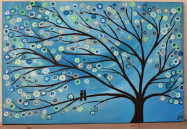 a abstract turquoise teal silver two birds in tree painting