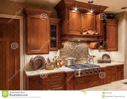 home kitchen stove range and cabinets in luxury house