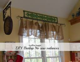 Kitchen Valances by Diy No Sew Burlap Kitchen Valances Made From Coffee Bags