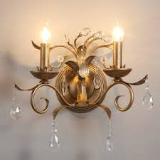 Crystal Candle Sconce Vintage 2 Light Candle Type Antler Wall Sconces
