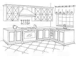 black white kitchen kitchen graphic room interior black white sketch illustration