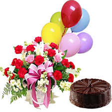 balloon and cake delivery arrangement of 25 carnations and roses with 1 pound chocolate