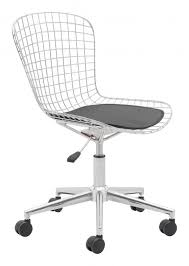 zuo modern wire office chair chrome white cushion leatherette chromed steel 100948 842896109890