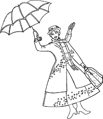 mary poppins umbrella coloring page wecoloringpage