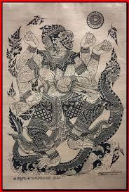 naga tattoo thailand thai traditional art of hanuman and naga by silkscreen printing on