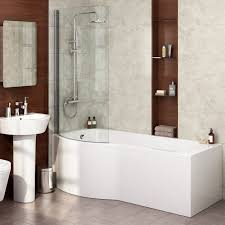 left hand p shaped shower bath 1700mm bath tub with screen u0026 front