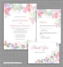Wedding Invitations Kits Spring Butterflies Wedding Invitation Set Wedding Invitation