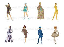 groovy 60s paper doll clip art retro fashion printables mod mini