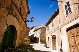 typical old spanish houses and street in valldemossa majorca
