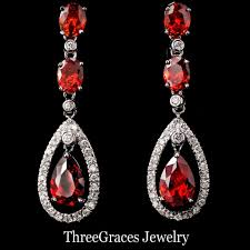 Ruby Red Long Brick Stitch Long Red Earrings Beautify Themselves With Earrings