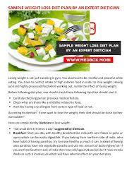 sample weight loss diet plan by an expert dietician