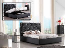 Lift And Storage Beds Modern Black Leather Platform Bed W Lift Storage