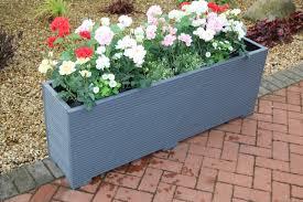wooden garden planter trough painted in cuprinol grey 140cm long