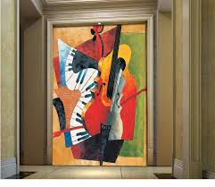 european abstract painting music piano restaurant entrance hallway