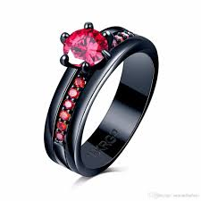 black promise rings images Red cubic zircon garnet rings for women lady black gold filled jpg