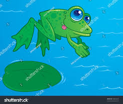vector drawing cute frog diving off stock vector 28846229