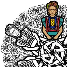 frida kahlo mandala coloring page