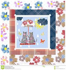 patchwork for kids with butterflies and cats stock photo image