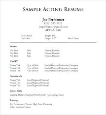 resume format exle acting resume template 8 free word excel format in