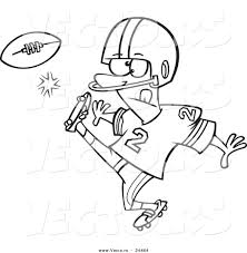 vector of a cartoon football player kicking outlined coloring