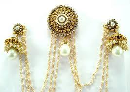 jhumki style earrings in gold buy style cz faux pearl gold tone bun pin jhumki earring
