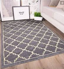 Modern Rugs Quality Carved Trellis Modern Rugs Soft Geometric Silver Grey