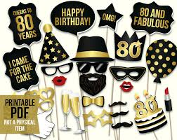 80th Birthday Party Decorations 80th Birthday Photo Booth Props Printable Pdf Black And Gold