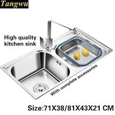 High Quality Kitchen Sinks Tangwu Food Grade 304 Stainless Steel Thickening Groove