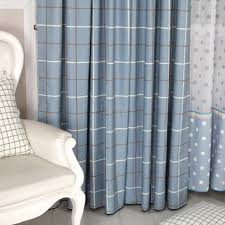 blue cotton curtains with plaid style for bedroom or living room