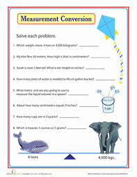 units of measurement comparing and converting worksheet