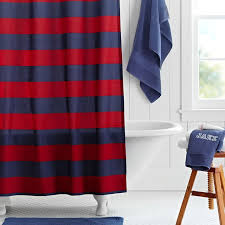 Red White Shower Curtain Rugby Stripe Shower Curtain Navy Red Pbteen