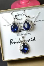 bridesmaid jewelry gifts navy blue sapphire blue wedding jewelry bridesmaid gift bridesmaid