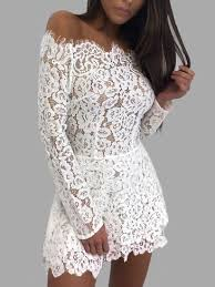 white lace white lace cut out design high neck sleeves dress us 39 95