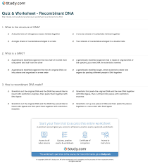 quiz u0026 worksheet recombinant dna study com