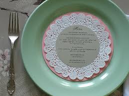 diy wedding menu cards diy wedding place cards menus doily charger me ta
