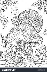 snail sitting on beautiful mushroom for t shirt design tattoo and