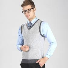 autumn and winter casual v neck plaid sweater vest pullover