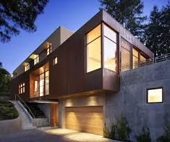 Modern House Garage Impressive Hillside House In Marin California