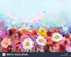 oil painting flowers daisy gerbera flower in fields hand paint