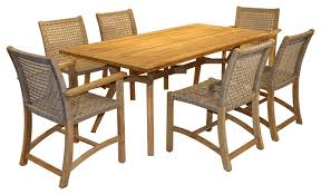 Teak Dining Room Furniture 7 Piece Nautical Teak Dining Set With Teak And Wicker Chairs