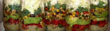 confetti salad in a jar with creamy chipotle dressing produce
