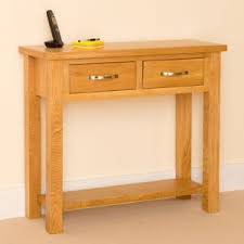 Oak Console Table With Drawers Newlyn Oak Console Light Oak Hall Table Two Drawer Side