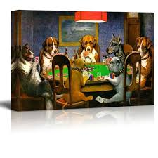 amazon com wall26 pokers dogs or dogs playing cards by c m