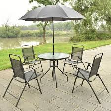 Patio Folding Chair Costway 6 Pcs Patio Garden Set Furniture Umbrella Gray With 4