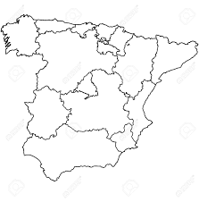 Spain On World Map by Regions Of Spain On Administration Map With Borders Stock Photo