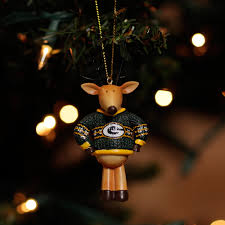 green bay packers sweater reindeer ornament at the packers pro shop