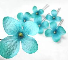 turquoise flowers turquoise blue hydrangea cluster hair flowers set of 6