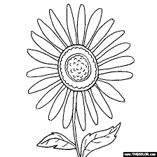 Flower Coloring Pages Color Flowers Online Page 2 Sunflower Coloring Page