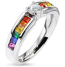 Superhero Wedding Rings by Amazon Com Acupress Rainbow Colorful Titanium Steel Rings Men